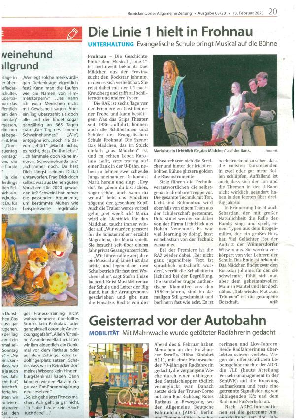 """Zeitungsartikel zum Musical """"Linie 1"""""""